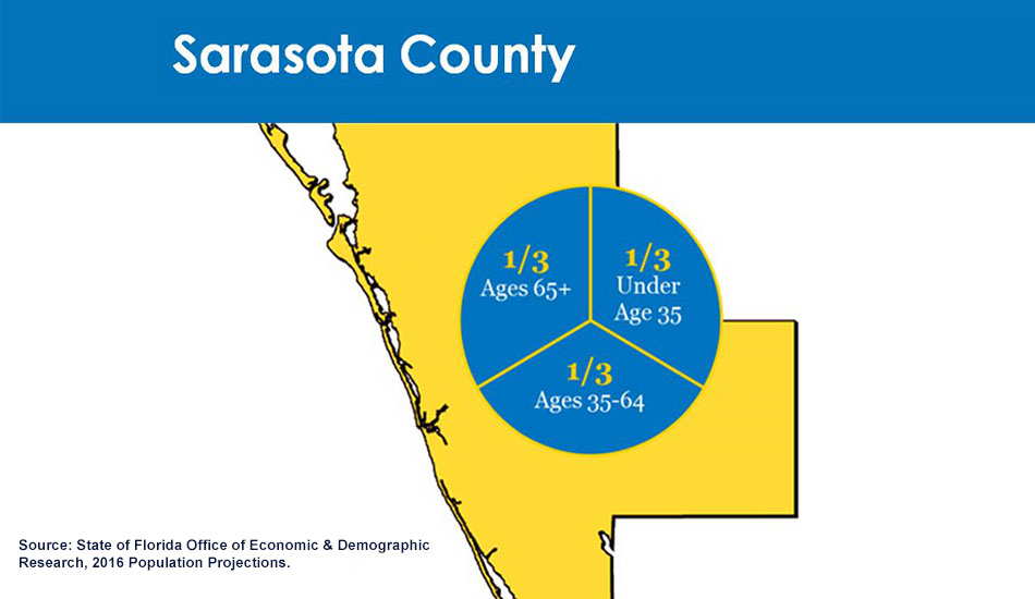 Sarasota County pie chart of age