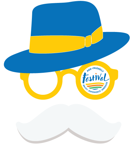 festival logo graphic showing man with hat