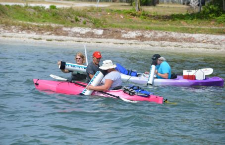Photo example – a group of volunteers kayaking together with underwater viewfinders